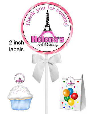40 EIFFEL TOWER PARIS BIRTHDAY PARTY STICKERS ~ for goody bags, seals, - Eiffel Tower For Party