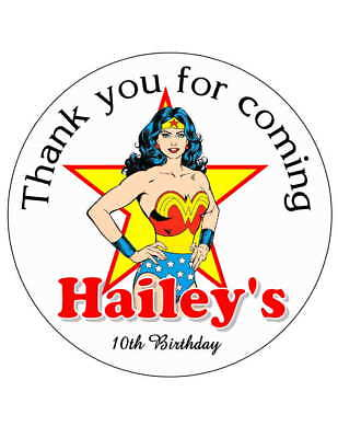 20 WONDER WOMAN BIRTHDAY PARTY FAVORS STICKERS LABELS FOR YOUR PARTY FAVORS