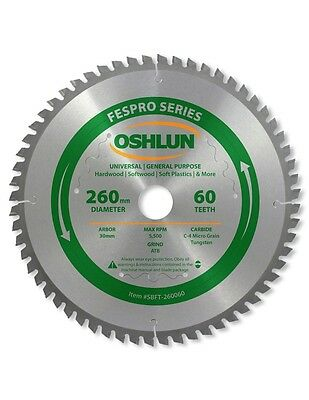 Oshlun SBFT-260060 260mm 60 Tooth FesPro General Purpose Blade for Kapex KS 120 for sale  Shipping to Canada