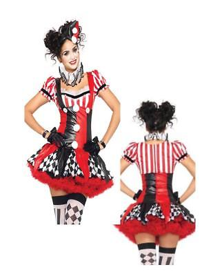 Harlequin Clown Black Red Sexy Dress Parade Circus Adult Women Costume - Black Parade Kostüm