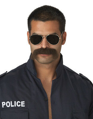 The Man Police Officer Adult Costume Moustache - Dark Brown - Police Man Costume