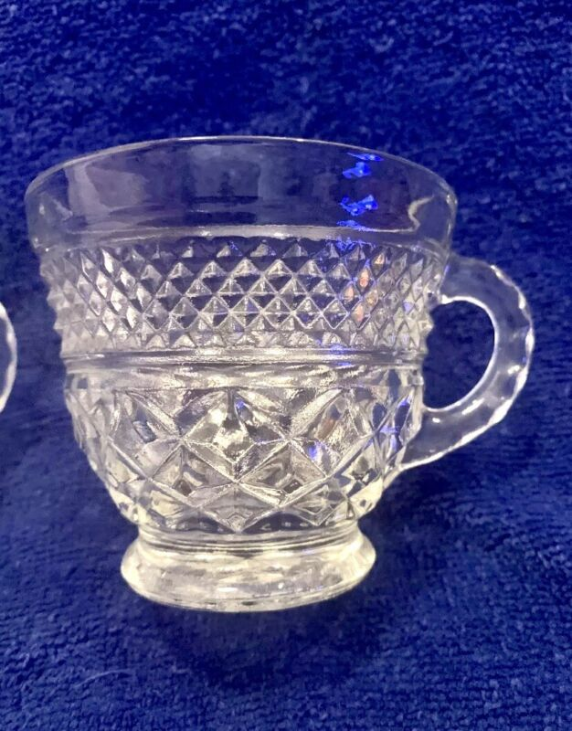Vintage Anchor Hocking WEXFORD Clear Glass Punch Coffee Cup. Set of 4~EUC ~