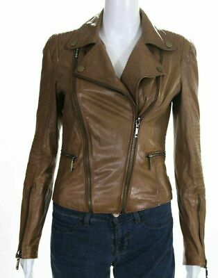 BCBG Max Azria Womens Ribbed Leather Jacket Light Brown Cognac Moto Size XXS
