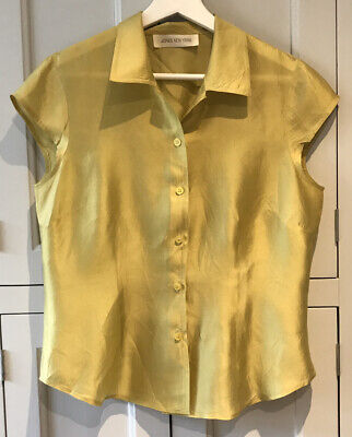 Jones New York Size 12 Chartreuse Silk Cap Sleeve Fitted Collared Blouse VGC