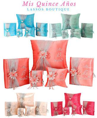 5PC Quinceanera Mis Quince 15 Anos Set Kneeling Pillow Guest Book Photo Album](Mis Quince Decorations)