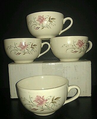 """4 Vintage Mount Clemens/MCP (McCoy) Pottery USA Coffee Cups """"Blushing Rose"""""""