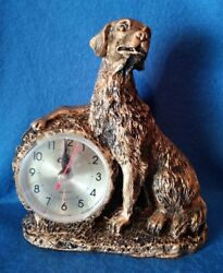 NEW Golden Retriever Dog Desk Clock Gold Color Antique Style Battery Operated