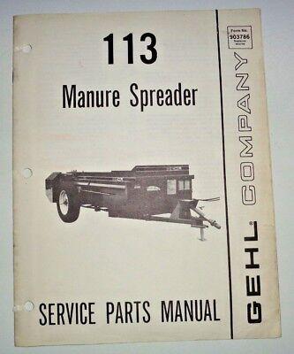 Gehl 113 Manure Spreader Parts Manual Catalog Book