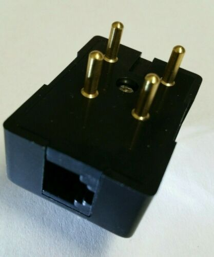 Vintage 4-Prong to RJ-11 Modular Telephone Jack Plug Adapter Black New