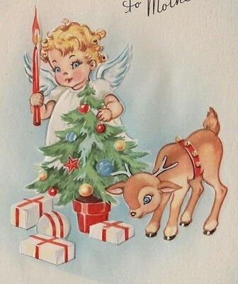 VTG EMBOSSED ANGEL HOLDING CANDLE CHRISTMAS TREE BABY DEER FAWN PRESENTS CARD