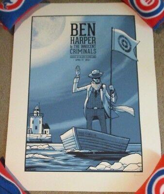 BEN HARPER concert gig poster print CLEVELAND 4-17-16 2016 Clinton Reno
