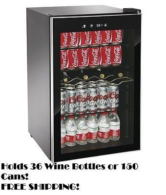 Beverage Center Refrigerator Cooler Glass Door Mini Fridge Wine Soda Compact