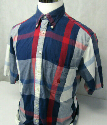Nautica Sailing Short Sleeve Button Down Red White Blue Cool Plaid Shirt Mens L