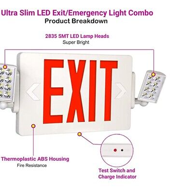 Ultra Slim Red Combo Exit Sign With Emergency Lights120-277v Double Face Led Co
