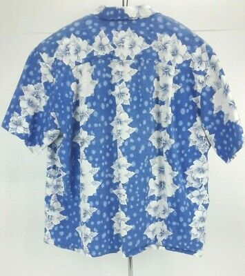 DJ Hawaii Hawaiian Shirt with White Flowers Blue Back Ground ? -