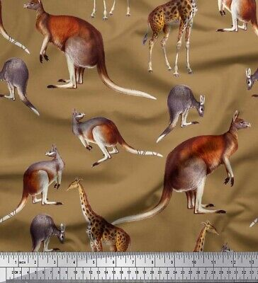 Soimoi Fabric Kangaroo & Giraffe Animal Print Fabric by the