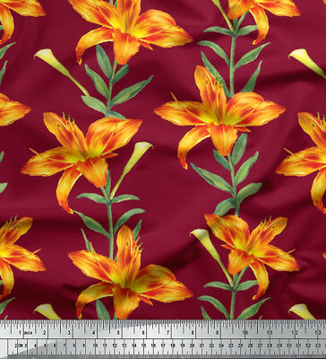 fabric leaves and lily floral decor fabric