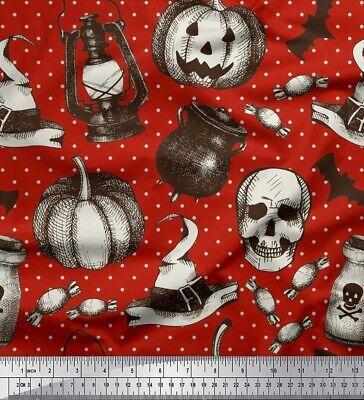 Soimoi Stoff Laterne, Schädel & Hexenhut Halloween Dekorstoff MTR (Halloween Dekor Hexen)
