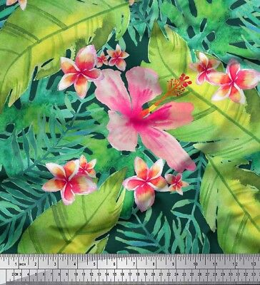 fabric leaves and plumeria flower tropical print