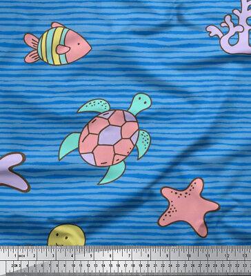 fabric clown fish and octopus ocean print