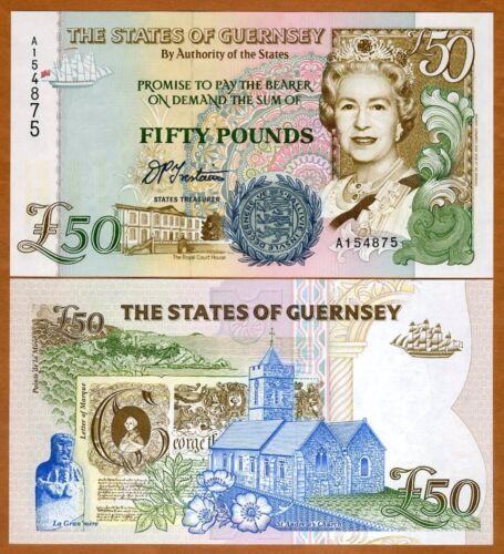 Guernsey 50 Pounds, ND (1994), P-59, QEII, Gem UNC > Highest Denom
