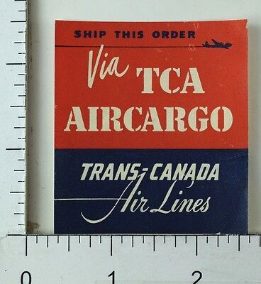 1930S 40S Trans Canada Air Lines Tca Aircargo Luggage Label Poster Stamp E2