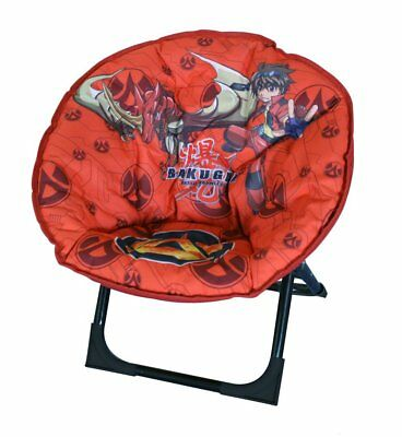 Children Bakugan Moon Chair Padded Folding Seat For Kids Indoor Outdoor Red New