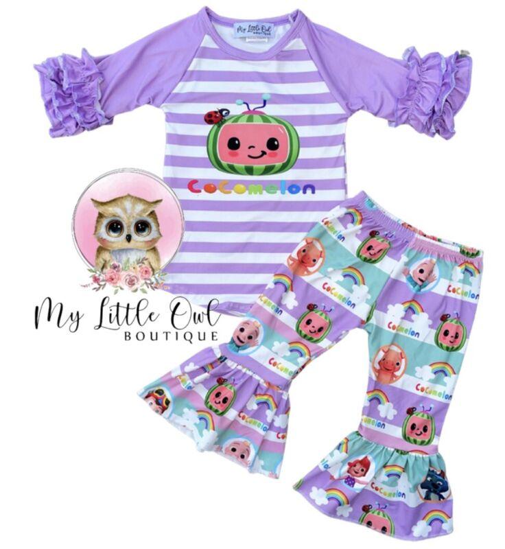 6-12m Kids, Purple Girls Cocomelon Shirt & Pants Outfit