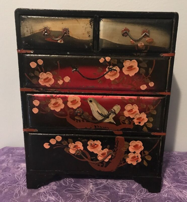 Vintage Post-War Occupied Japan Lacquer Jewelry Box-5 Drawers