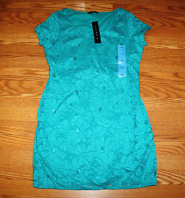 NWT Womens TIANA B. Turquoise Lace Dress Sz. S Small - Turquoise Lace Dress