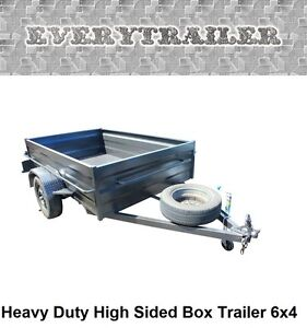 New 6 X 4 Heavy Duty High Sided Box Trailer Finance Available! Take Home Today!