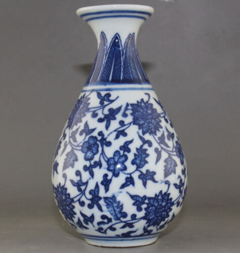 FINE CHINA OLD MARKED BLUE AND WHITE PORCELAIN HANDPAINTED LOTUS FLOWER VASE
