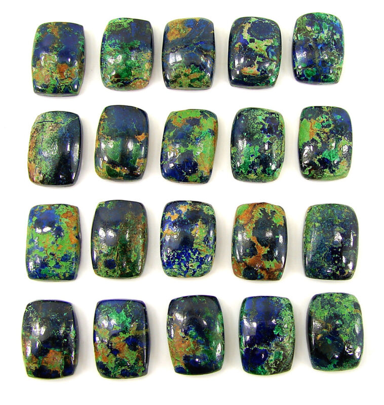 122.50 Ct Natural Azurite 14x10 MM Loose Gemstone Cushion Cab 20 Pcs Lot - 35085