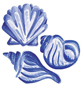 25-Blue-Sea-Shells-Ocean-Beach-Scallops-Wallies-Sticker-Bath-Stickers-Decals