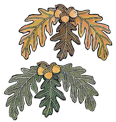 Oak Leaves Green Brown 25 Acorn Leaf Wallies Stickers Decal Fall Decorating Wall - Oak Green Vinyl