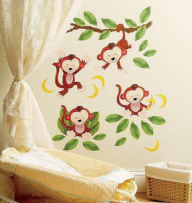 (Baby Monkeys Jungle Leafs Vines Monkey Peel & Stick Vinyl Murals Stickers Decals)