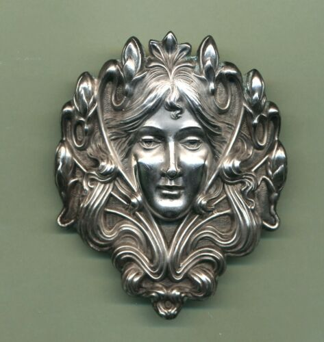 """Antique ART NOUVEAU Sterling UNGER BROS Brothers Lady Large Brooch Pin 2 1/2"""""""