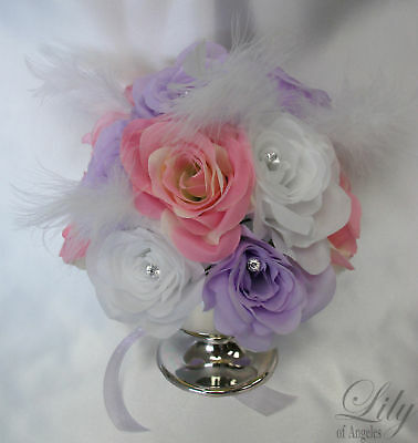 6 Cup Vase Centerpiece Wedding Table Decoration Flowers LAVENDER PINK WHITE - Lavender Centerpieces