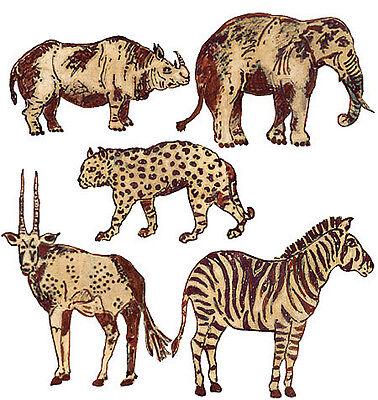 New 25 Wild Jungle Animals Wallies Zebra Elephants Cats African Decor Africa -