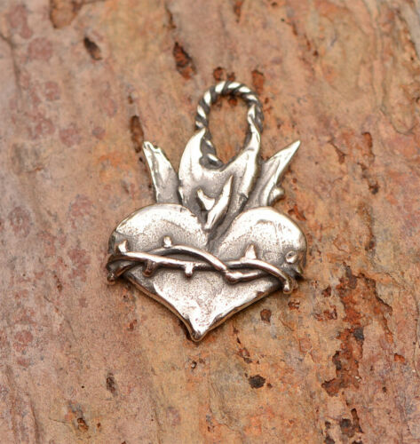 Sacred Heart, Crown of Thorns Heart Charm, Sterling Silver H-720 (ONE)
