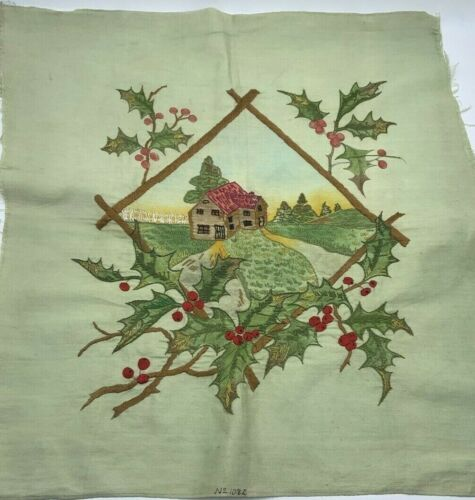 Antique c1900 Society Silk Embroidery 21x22 Cottage & Holly Berries Green Cloth