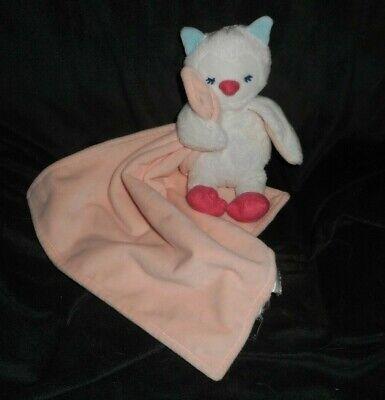 CARTER'S Baby Weiß Eule / Pfirsich Sicherheit Decke Rassel Plüschtier Plüsch (Baby Pfirsich Plüsch)