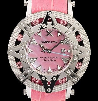 (Xoskeleton Superlative Star Ladies Swiss Quartz Pink Pearl Dial Leather Watch)