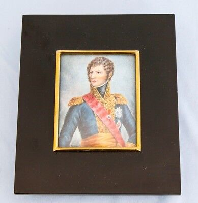 19th C Framed Hand Painted Miniature Portrait of Napoleon Marshall Bernadotte