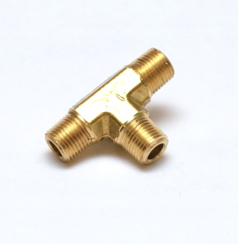 """Male Tee 1/4"""" NPT MPT Brass Pipe Fitting Fuel, Air, Water, Oil, Gas FasParts"""