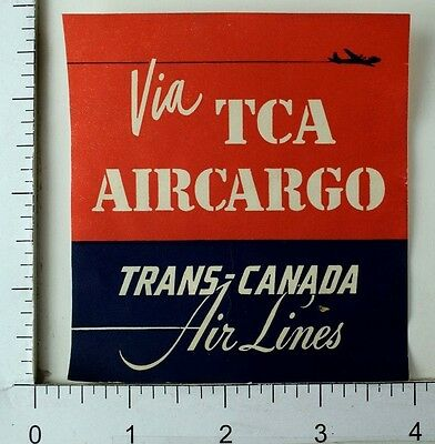 1940S 50S Trans Canada Air Lines Tca Vintage Luggage Label Coaster Stamp E9