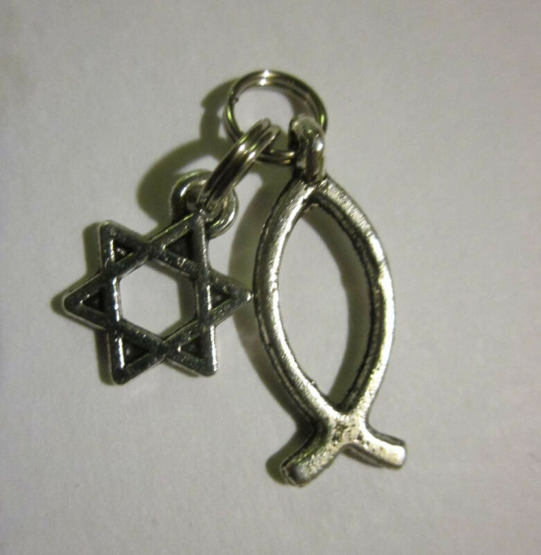 Messianic Double Bracelet Charm Christian Fish Star of David Silver Plated