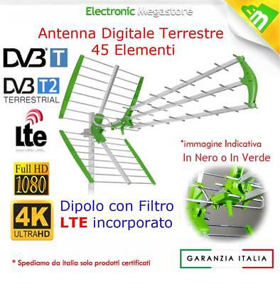 ANTENNA DIGITALE TERRESTRE UHF DTT DVBT 45 ELEMENTI ALTO GUADAGNO TV FULL HD LTE