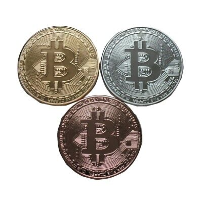 Bitcoin Physical Bitcoin Gold, Silver, Copper Plated Color Coin Set BTC