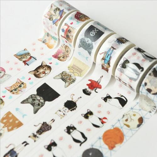 """Cat School"" Cute Masking Washi Tape DIY Craft Journal Scrapbooking Gift Sticker"